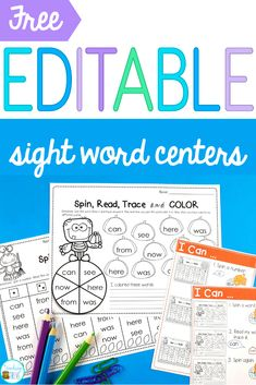 Sight word activities that are editable make it easy to create hands-on teaching resources that help even your struggling readers to learn their sight words. Grab these two fun free printables to quic Teaching Sight Words, Sight Word Practice, Sight Word Games, Sight Word Activities, Reading Activities, Grammar Activities, Reading Games, Reading Groups, Kids Reading