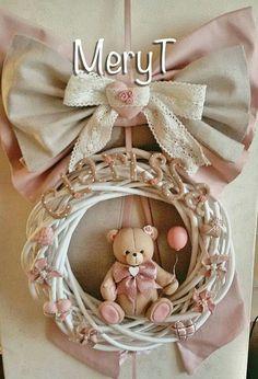 Fiocco nascita baby girl in pasta di mais, porcelana Fria, cold porcelain