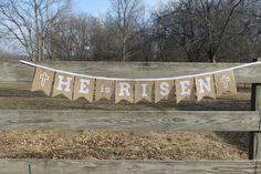 He Is Risen Easter Jesus Burlap Bunting banner by MsRogersNeighborhood