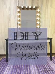 DIY gorgeous watercolor walls! It's easier than you think, and just as messy! All you need is paint, a brush, plastic sheeting and painters tape!