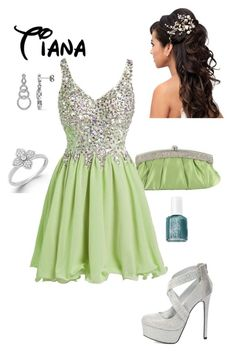 """""""Disney Prom - Tiana"""" by briony-jae ❤ liked on Polyvore featuring Ice, Charlotte Russe and Essie"""