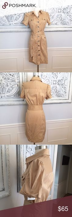 DVF Khaki Shirt Dress Shirtdress Safari NWT! Sz. 12. Khaki belted shirtdress. Cotton/poly blend. I see no spandex on label, but there is some stretch to fabric. So on trend! Brand new with tags! Smoke free, clean home. Diane von Furstenberg Dresses Midi