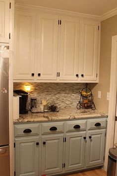 kitchen renovation, home decor, kitchen backsplash, kitchen design, Great new cabinet colors hardware granite and tile backsplash Two Tone Kitchen Cabinets, Painting Kitchen Cabinets, Kitchen Paint, Kitchen Redo, New Kitchen, Kitchen Backsplash, Refinish Cabinets, Kitchen Ideas, Cabinet Refacing