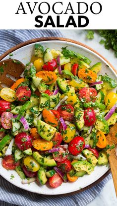 Avocado Salad - made with an abundance of fresh, creamy avocados, vibrant tomatoes, crisp cucumbers, bright red onions and a fresh herb dressing. A healthy side that's perfect for a summer lunch or dinner! #avocado #salad #sidedish #healthyrecipe #summerrecipe Healthy Cooking, Healthy Eating, Cooking Recipes, Healthy Recipes, Healthy Dinners, Keto Recipes, Cilantro, Avocado Salad Recipes, Appetizer Salads