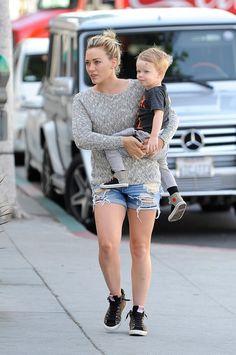Hilary Duff wearing Golden Goose leopard suede slide sneakers Rag   Bone  The Boyfriend Shorts in 4284d09ff1e