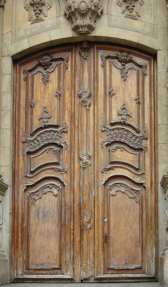 Close-up view of beautifully carved wooden church door, San Sebastian, Spain Internal Glazed Doors, Internal Wooden Doors, Wooden Front Doors, Wooden Windows, Glass Panel Door, Glass Front Door, Glass Panels, Solid Interior Doors, Cool Doors