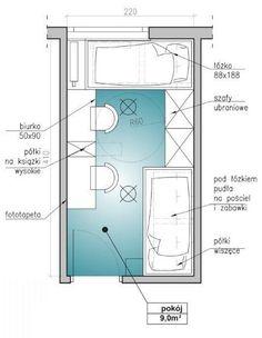 Aranżacje wnętrz. Mały pokój dla dwójki dzieci Corner Twin Beds, Daybed Room, Kids Room Design, My Room, Kids And Parenting, House Plans, Ikea, House Design, Interior Design