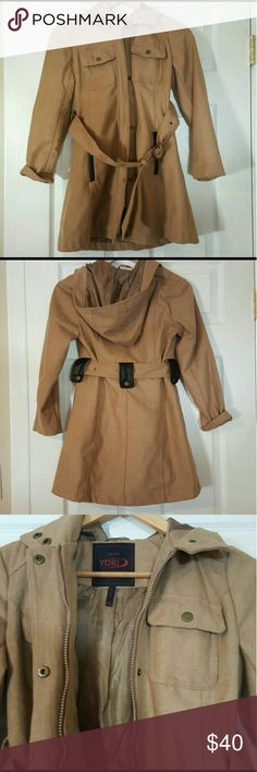 EUC HOODED PEACOAT GIRLS 7-9Y Yoki brand will fit girls size 7-9 y.o. Suede like material with belt and buttoned front Worn once, daughter didn't like it Will be great for fall and mild winter  So cute on   From smoke and pet free home Jackets & Coats Pea Coats