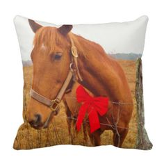 Brown Horse,Christmas Red Bow Throw Pillows