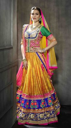 Indian Pakistani Ghagra/ Lehenga Choli Designs Collection contains latest styles of fancy embroidered dresses for party wear, wedding & mehndi! Choli Designs, Lehenga Designs, Bridal Lehenga Choli, Silk Lehenga, Yellow Lehenga, Ghagra Choli, Anarkali, Indian Bridal Wear, Indian Wear