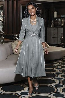 A-Line/Princess V-neck Tea-length Taffeta Mother of the Bride Dress