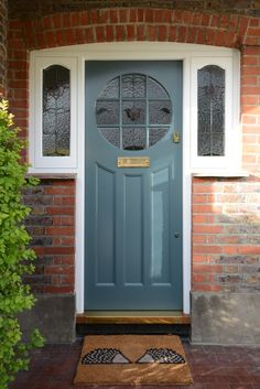 Edwardian front door in Hampton, South West London is remodelled into a wider door with the same authentic Edwardian details, Accoya timber & double glazing Cottage Front Doors, Victorian Front Doors, Green Front Doors, Front Door Porch, Porch Doors, Front Doors With Windows, House Front Door, House Doors, House With Porch
