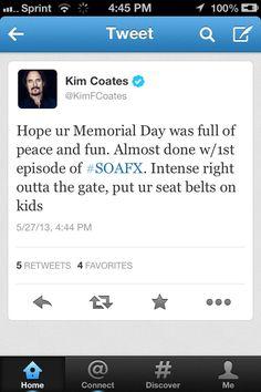 Kim Coates tweet... aaaaah hurry up!