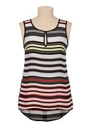 Striped high-low chiffon tank with keyhole - maurices.com