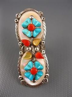 Big-Vintage-Zuni-Mike-Sarah-Simplicio-Sterling-Ornate-Turquoise-Ring-Size-9: