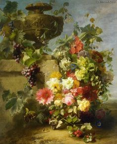 """Still Life of Roses - Morning Glories - Chrysanthemums - Forget....Ledge in a Landscape"" by Jean Baptiste Robie (1821-1910, Belgium)"