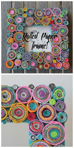 Upcycled Rolled Paper Frame crafts for kids Upcycled Rolled Paper Frame! Recycled Paper Crafts, Newspaper Crafts, Upcycled Crafts, Recycled Magazines, Recycled Magazine Crafts, Cool Paper Crafts, Recycled Art Projects, Paper Mache Crafts, Newspaper Basket