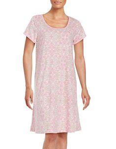 Miss Elaine Cap-Sleeve Floral-Print Sleep Shirt Women's Pink Medium