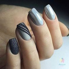 Nailart Ideas To Make Your Nails Look Gorgeous – NiceStyles – NagelDesign Elegant ♥ Grey Nail Art, Grey Acrylic Nails, Gray Nails, Acrylic Nail Designs, Nail Art Designs, Grey Art, Nails Design, Pedicure Designs, White Nails