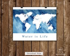 Instant Download World map art printwater color  by MokileArt