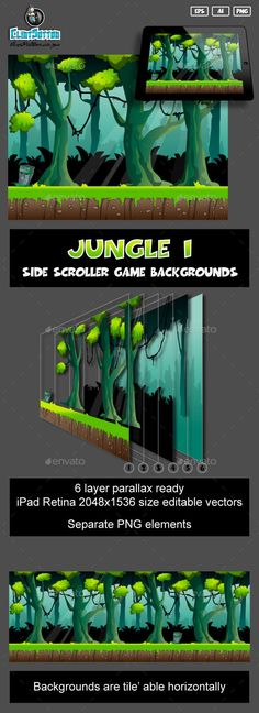 game background by clintsutton jungle scene, side scrolling game backgrounds.These backgrounds can be used in making your cartoon game. It is made up of 6 i 2d Game Background, Background Patterns, 2d Game Art, Video Game Art, Game Character Design, Game Design, Video Game Backgrounds, Scrolls Game, Jungle Scene