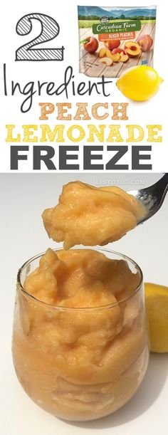 Healthy 2 Ingredient Peach Lemonade Freeze (like soft serve!) Dairy free, sugar free, clean eating dessert.   A yummy summer treat for adults and kids! Listotic.com
