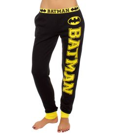 Loving this Black & Yellow Batman Joggers Pant - Women on #zulily! #zulilyfinds