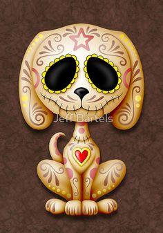 Brown Zombie Sugar Skull Puppy Dog by Jeff Bartels
