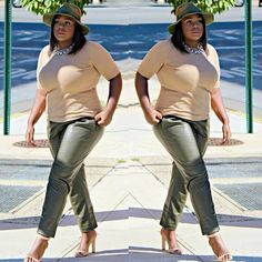 Can Plus-Size Girls Do Minimal Fashion? The Answer Is Obvious #refinery29  http://www.refinery29.com/plus-size-fall-fashion-instagram#slide4  If leather pants are on your covet list, Sandee's olive green version pairs perfectly with a nude top and open-toed heels.