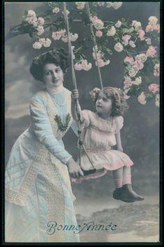 Edwardian Child Girl Swing Mother Mom Fantasy vintage old 1910s photo postcard: