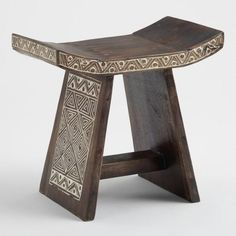 Geometric Carved Wood Stool by World Market Furniture Removal, Furniture Sale, Discount Furniture, Furniture Decor, Furniture Design, Furniture Plans, Into The Woods, Indonesian Decor, African Room