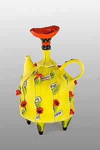 """I Go On Dreaming""  Ceramic Teapot  Created byLaura Peery   One of a Kind   One of a kind porcelain and mixed media teapot."