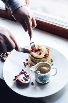 Nooroz Food | Nigella's Arabic Pancakes w/ Orange Blossom Syrup & Pomegranate Seeds