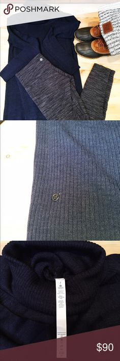 NWOT lululemon Sweater Never worn, received for Christmas and I like my sweaters a bit bigger than my usual size for layering. My loss, your gain! Navy blue, has a kangaroo pocket in front, size 2. No trades, REASONABLE offers considered. lululemon athletica Sweaters Cowl & Turtlenecks
