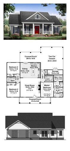 Ranch Style COOL House Plan ID: chp-48752 | Total Living Area: 1640 sq. ft., 3 bedrooms and 2 bathrooms #houseplan #ranchstyle