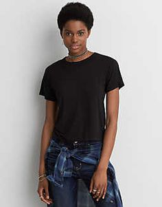 AEO Soft & Sexy Shrunken T-Shirt , Urban Black | American Eagle Outfitters