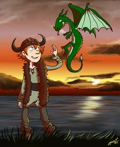 Hiccup and Toothless walking by the lake