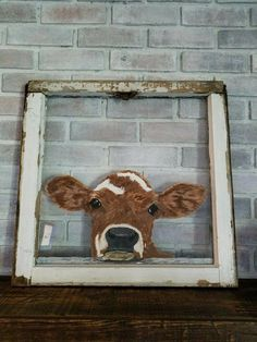 Cow I painted on an old window frame. - Cow I painted on an old window frame. Painted Window Art, Window Pane Art, Painted Window Screens, Painting On Screens, Painted Glass Windows, Old Window Art, Old Window Projects, Art Projects, Window Ideas