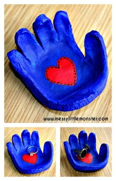 Salt dough handprint bowl keepsake. Follow our simple instructions to make a hand shaped dish from salt dough for rings, cufflinks, coins or keys. A great kid made gift idea for mothers day, fathers day, valentines day or christmas.: