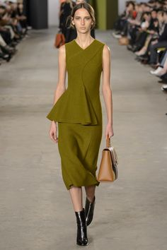 Olive Short Sleeve Skirt Suit by Boss Fall 2016 Ready-to-Wear Fashion Show