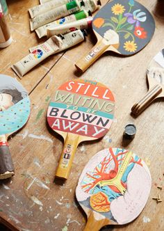 Handpainted table tennis racquets for Sandra's upcoming show at Hut 13. Photo - Sean Fennessy for The Design Files.