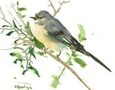 Mockingbird, original watercolor painting, 10 x 8 in, gray wall art, birding, bird lover