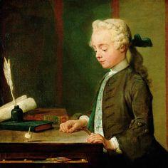 Jean-Baptiste-Siméon Chardin, Portrait du fils de M. Godefroy, joaillier, appliqué à voir tourner un toton (Enfant au toton)