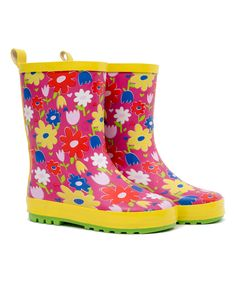 Look at this Wippette Pink Glo Flower Rain Boots on #zulily today!