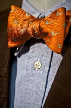 Men's Orange Pipe Bow Tie by Buffalo and Company