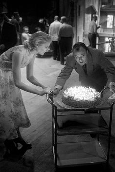Grace Kelly celebrating her 24th Birthday on the set of Rear Window, 1953.