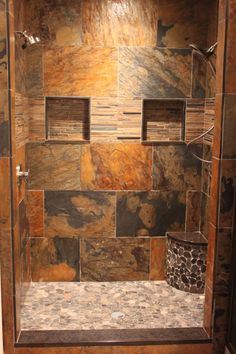 Master bath remodel with colorful slate tile for a spa like feel