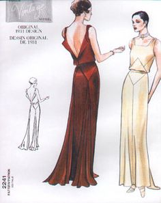 Vogue 2241. Close-fitting, slightly flared dress, evening length, has front inset, seam detail, back shoulder bands/fold-back facings and drape.