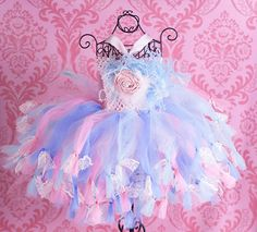 Bella Rose Feathers Lace Baby Girl Tutu Dress / Crochet French Pink Blue Infant, Toddler Girls Fancy Newborn Skirt / Party Dress / Flower