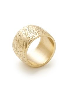 Wide Engraved Paisley Floral Band Ring by Me Silver and 10K on Gilt.com